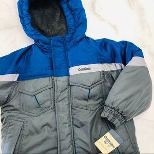 Oshkosh Boys Winter Puffer Jacket Blue Gray 5 NWT